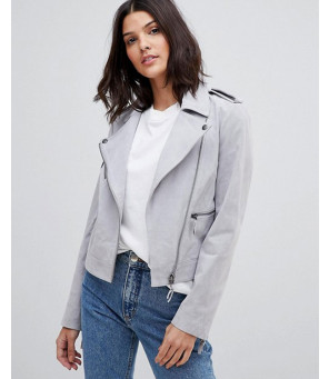 Women-Grey-High-Quality-Suede-Biker-Jacket