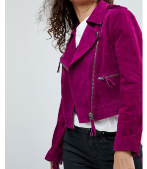Women-Moto-Biker-Suede-Leather-Jacket