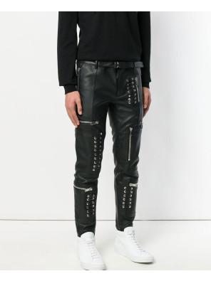 Biker-Trouser-Men-Leather-Denim-Splices-Skinny-Pencil-Punk-Casual-Zip-Pant