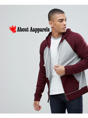 Burgundy-Grey-Full-Zip-Up-Contrast-Sleeve-Stylish-Hoodie