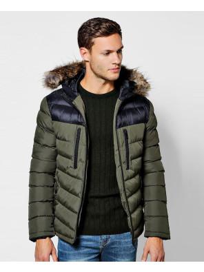 Colour-Block-Faux-Fur-Trim-Hooded-Puffer