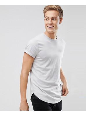 Curved-Hem-Crew-Neck-Men-Grey-T-Shirt