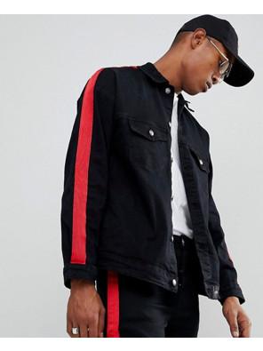 Denim-Jacket-In-Black-With-Red-Stripe