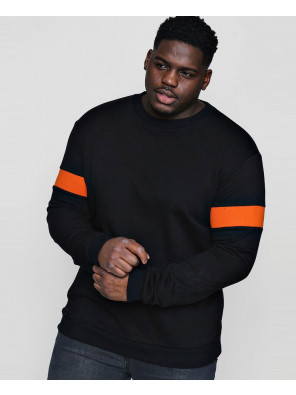 Men-Black-Big-And-Tall-Sweater-With-Rib-Insert-Sweatshirt