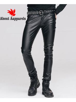 Men-Classic-Skinny-Slim-Trouser-Denim-Casual-Faux