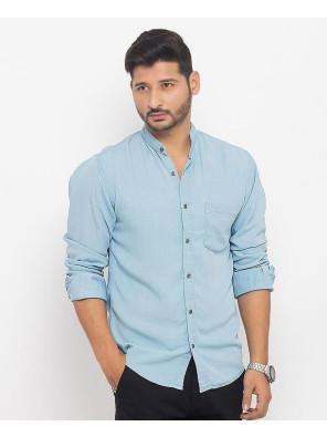 Men-Ice-Blue-Super-Soft-Tencel-Denim-Shirt-with-Metal-Buttons