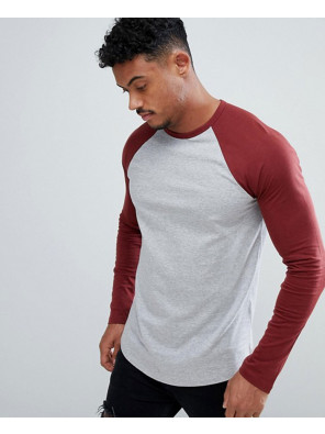 Men-Long-Sleeve-Contrast-Raglan-Burgundy-&-Grey-T-Shirt