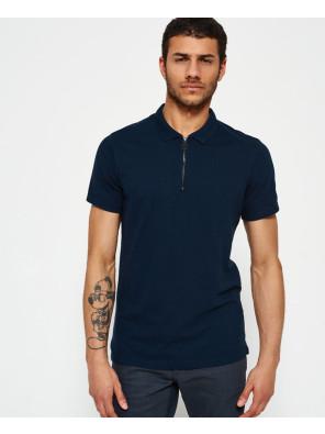 Men-Navy-Blue-Zipper-Polo-Shirt