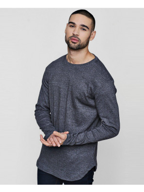 Men-New-Fashioable-Stylish-Sport-Skater-Ribbed-Curved-Hem-With-Long-Sleeve-T-Shirt