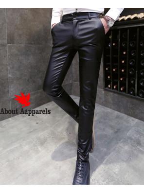 Men-Pencil-Pants-Leisure-Faux-Leather-Trousers-Stylish