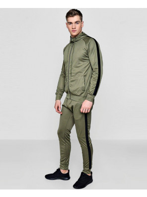 Men-Stylish-Skinny-Contrast-Panel-Hooded-Tracksuit