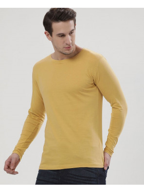 Men-Yellow-Long-Sleeve-Crew-Neck-Slim-Fit-T-Shirt-
