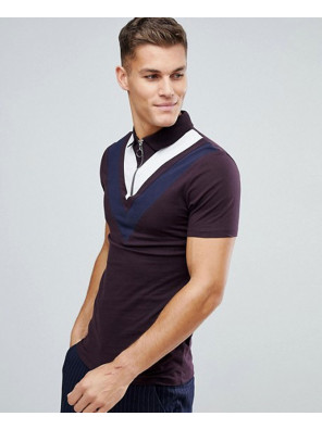 Muscle-Polo-Shirt-With-Double-Chevron-Panel-And-Ring-Zip-Neck