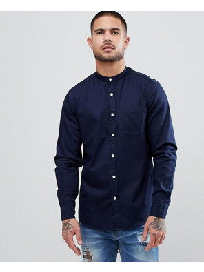 Navy-Blue-Stretch-Slim-Denim-Shirt-With-Grandad-Collar