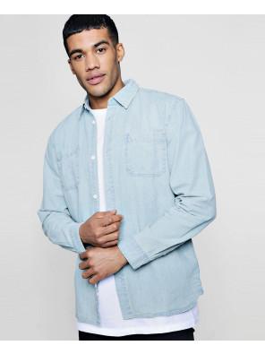 New-Stylish-Custom-Bleach-Denim-Shirt-With-Pockets