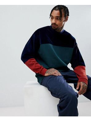 Oversized-Longline-Sweatshirt-In-Green-Velour-Colour-Block