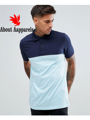 Short-Sleeve-Polo-With-Colour-Block-In-Blue