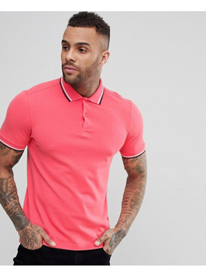 Slim-Fit-Twin-Tipped-Polo-Shirt-In-Coral