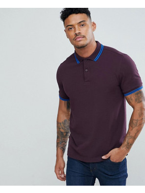 Slim-Fit-Twin-Tipped-Polo-Shirt-In-Dark-RedSlim-Fit-Twin-Tipped-Polo-Shirt-In-Dark-Red