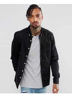 Slim-Stretch-Denim-Shirt-In-Black