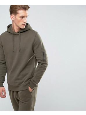 Soft-Feel-Pullover-Hoodie-With-Pocket-In-Khaki