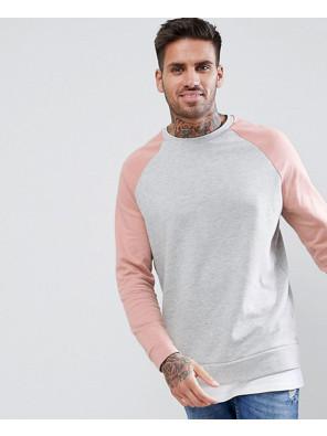 Sweatshirt-With-Hem-Extender-In-Pink-And-Grey-Marl