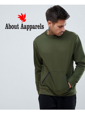 Sweatshirt-With-Zipper-Detail-In-Khaki