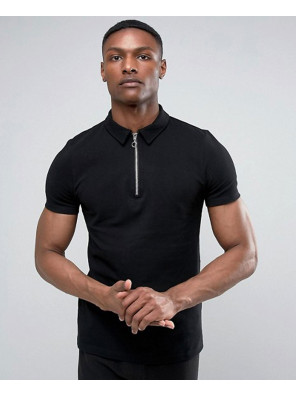 Zip-Up-Black-Neck-Pique-Polo-Shirt