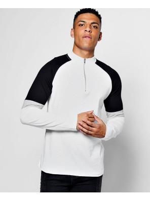 Zipper-Collared-Long-Sleeve-Colour-Block-T-Shirt