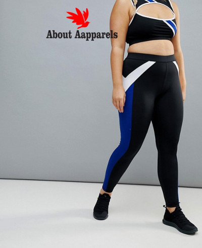 Beach-Plus-Stripe-Gym-Legging-In-Black-And-Blue-Tight-Leggings