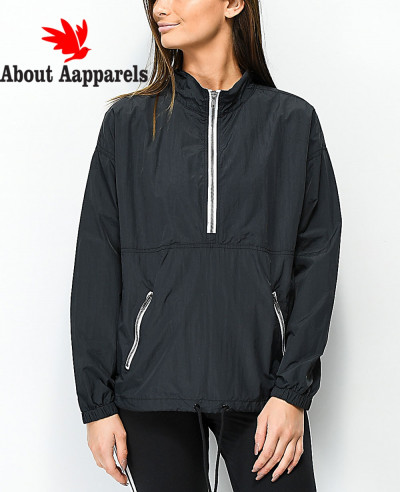 Black-Anorak-Windbreaker-Jacket