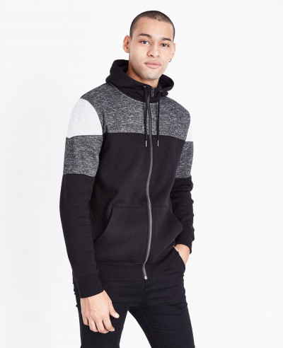 Black-Colour-Block-Zipper-Front-Hoodie