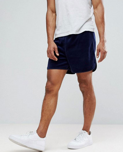 Black-Line-Velour-Shorts-In-Navy