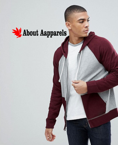 Burgundy-Grey-Full-Zip-Up-Contrast-Sleeve-Stylish-Hoodie