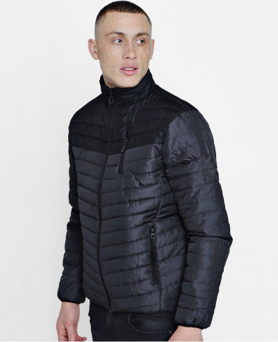 Colour-Block-Funnel-Neck-Puffer-Jacket