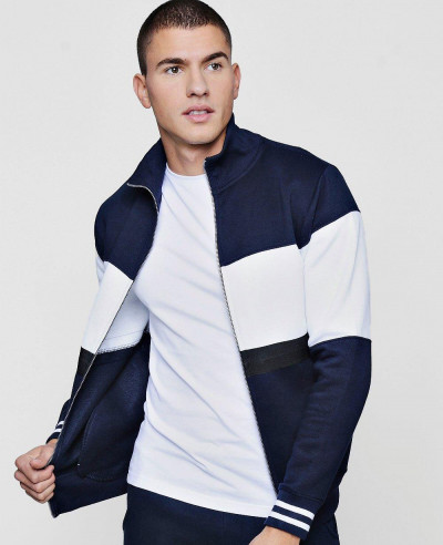 Colour-Block-Zipper-Through-Track-Top-Sweatshirt