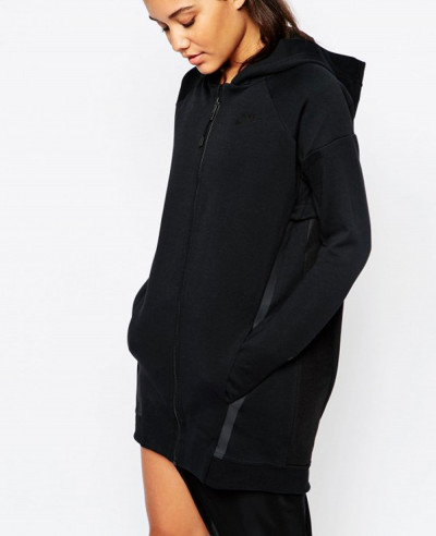 Cotton-Fleece-Cocoon-Mesh-Longline-Zipper-Front-Hoodie