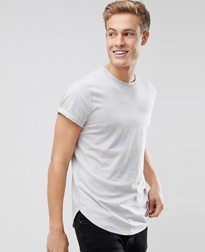 Curved-Hem-Crew-Neck-Men-Grey-T-Shirt