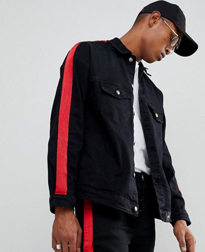 Denim-Jacket-In-Black-With-Red-Stripe