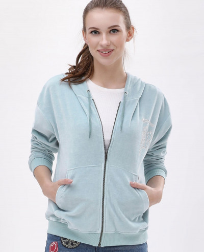Embellished-Velour-Blue-Hoodie