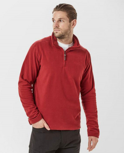 Fashionable-Red-Half-Zipper-Fleece-Jacket