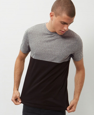 High-Quality-Men-Custom-Grey-Colour-Block-T-Shirt
