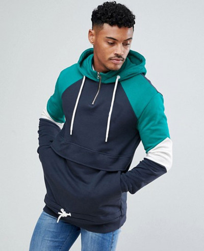 High-Quality-Men-Hoodie-In-Navy-With-Half-Zipper
