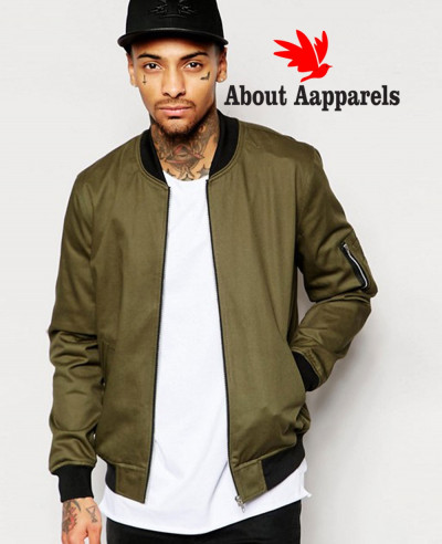 High-Quality-Men-Custom-Zipper-Bomber-Jacket-in-Khaki