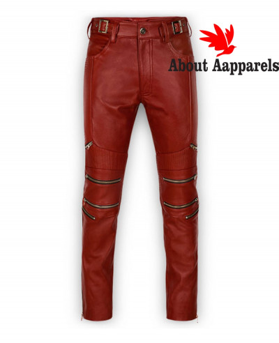 Hot-Selling-Custom-Men-Boys-Sheep-Leather-Skinny-Straight-Leg