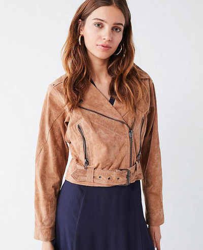 Hot-Selling-Fashion-Leather-Suede-Belted-Moto-Jacket