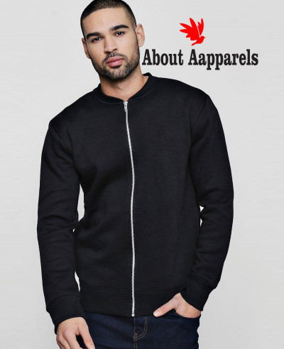 Hot-Selling-Men-Navy-Blue-Jersey-Bomber-Fleece-Sweatshirt