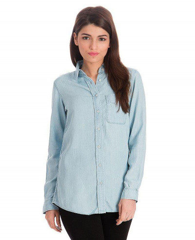Ice-Blue-Silky-Tencel-Button-Down-Denim-Shirt