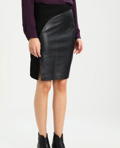 Lambskin-Leather-Pencil-Skirt