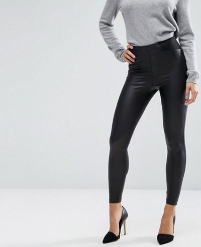 Leather-Look-Leggings-with-Elastic-Slim-Waist